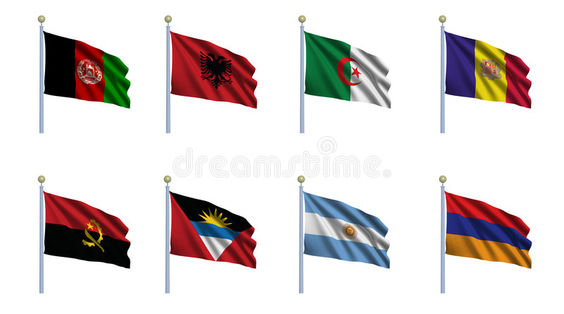 1 set värld för flagga vektor illustrationer