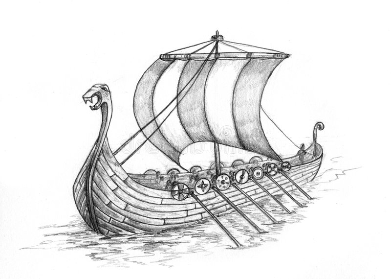 1 ship viking royaltyfri illustrationer