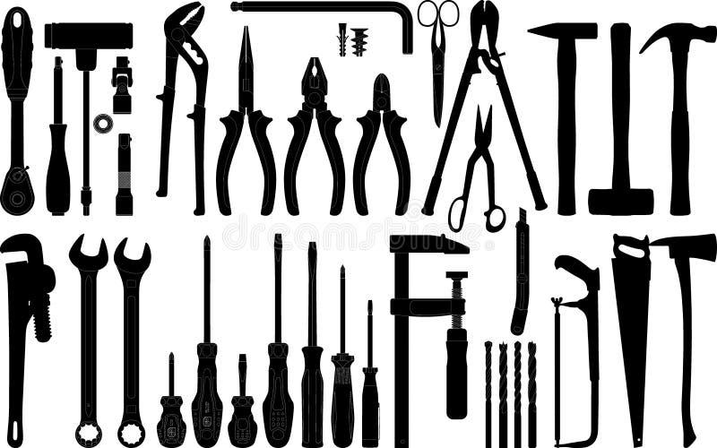 1 silhouette tools vektorn royaltyfri illustrationer