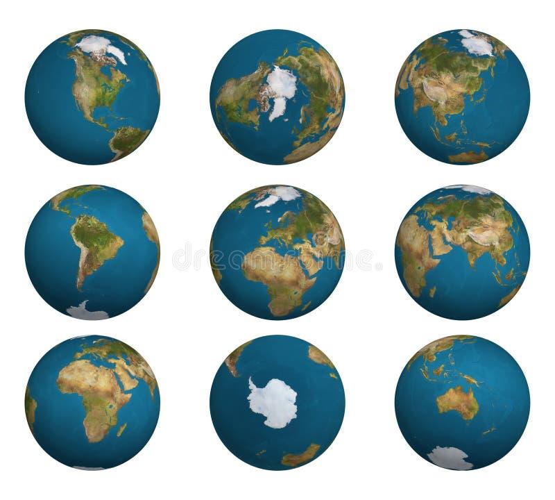 1 sköt jordjordklot royaltyfri illustrationer