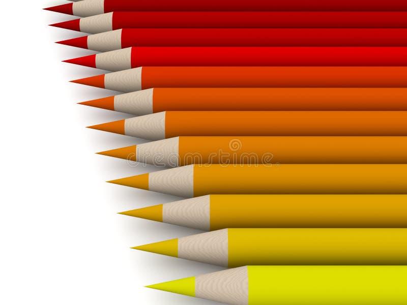 1 spectrum för färgcrayonred stock illustrationer