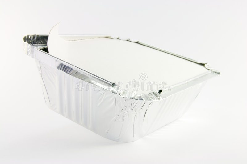 1 square foil partly opened catering tray