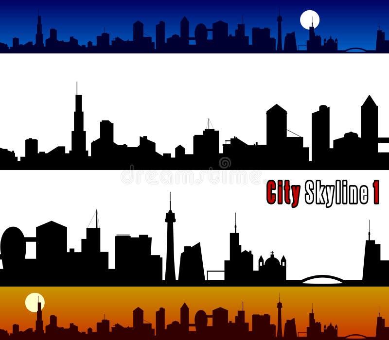 1 stadshorisont royaltyfri illustrationer