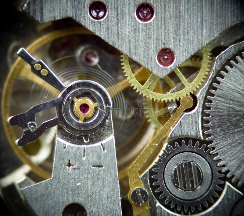 1 superklockamakromekanism arkivbild