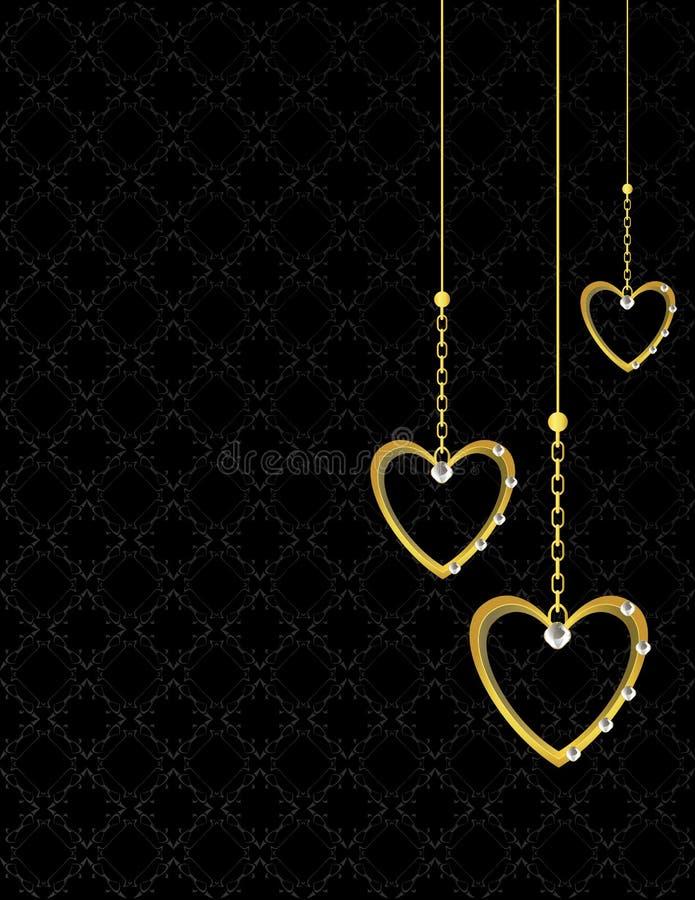 (1) tła złocisty serce deseniujący ilustracji