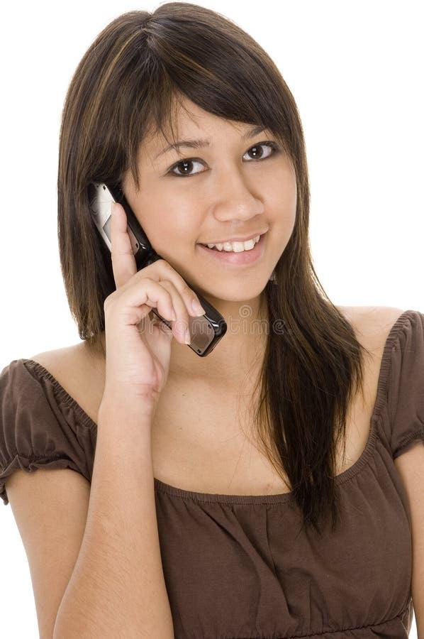 1 teen telefon royaltyfria bilder
