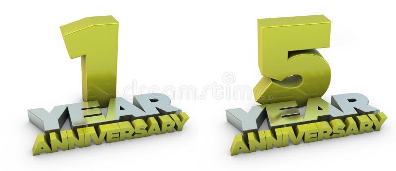 1 und 5-Jahr-Jahrestag stock abbildung