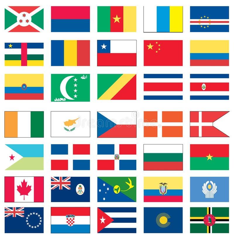 1 värld för 8 flaggor vektor illustrationer