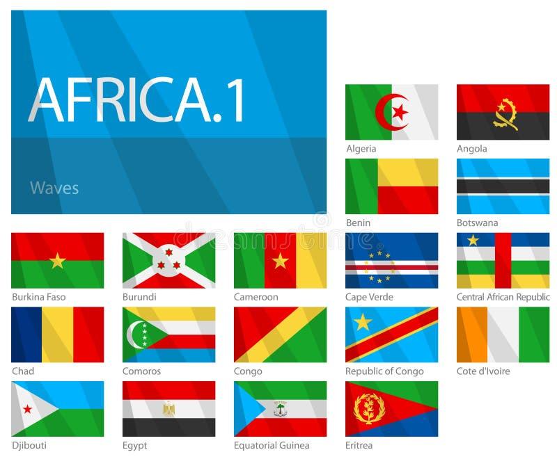 1 värld för serie för del för afrikanlandsflaggor vektor illustrationer