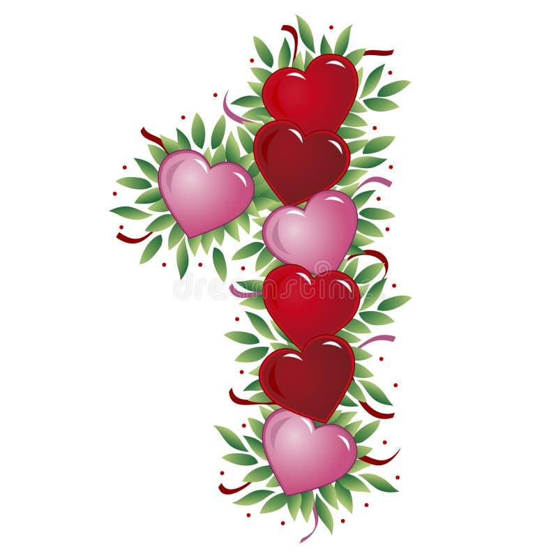 1 valentin för hjärtanummer s royaltyfri illustrationer