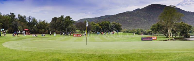 1? verde - campo de golfe do jogador de Gary - Pano imagens de stock royalty free