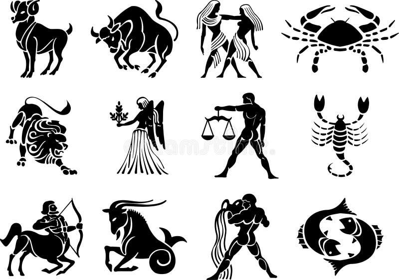 (1) znaki grać główna rolę wektorowego zodiaka royalty ilustracja