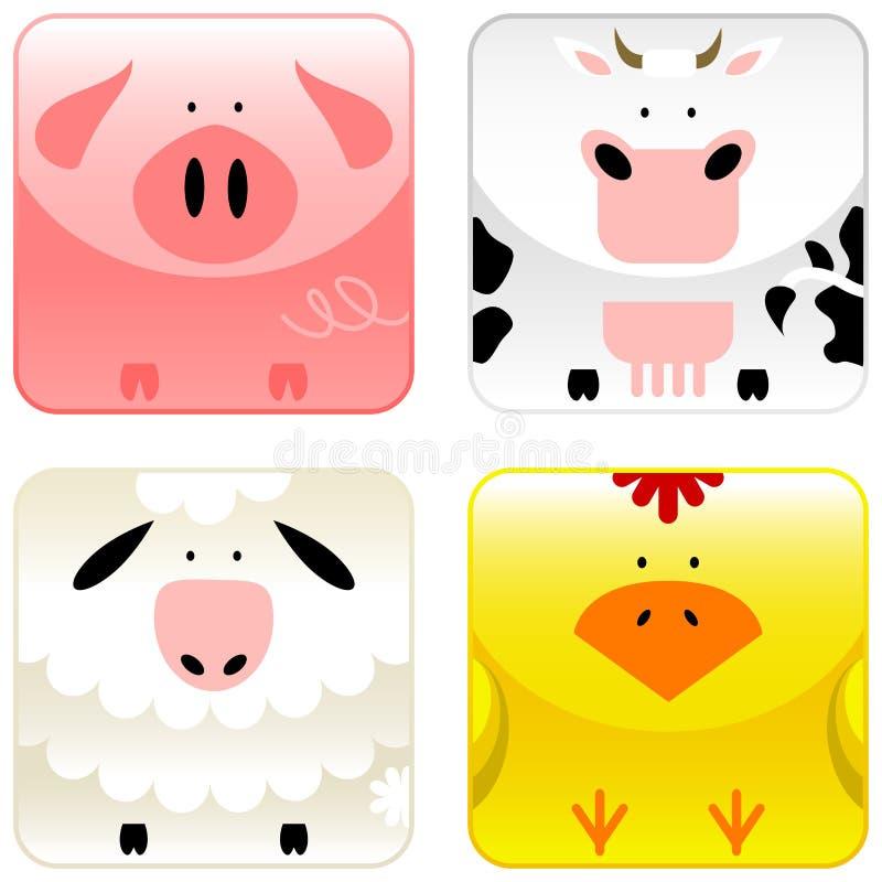 (1) zwierzęta uprawiają ziemię ikona set ilustracja wektor
