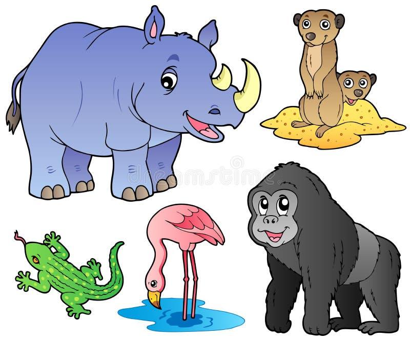 (1) zwierzęta ustawiają zoo ilustracji