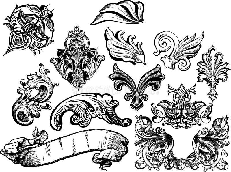 1 zwoje kwieciste gotowe wektora royalty ilustracja