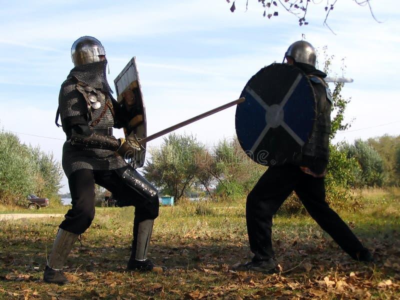 10个骑士全副盔甲 库存图片