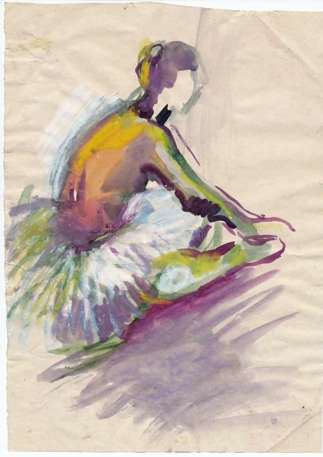 10位芭蕾舞女演员图画 向量例证