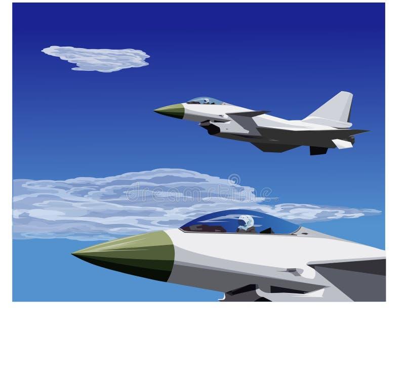 10架战斗机飞行形成j喷气机 库存例证