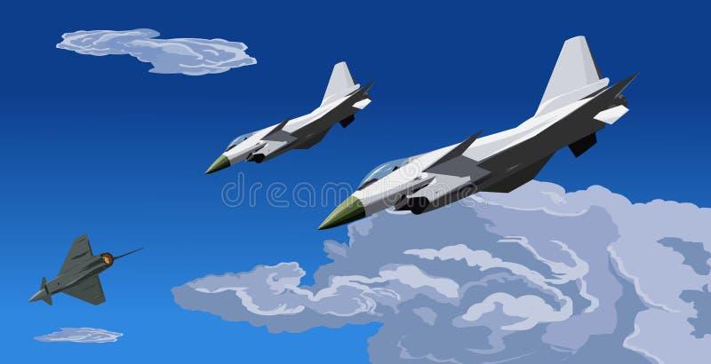 10次攻击战斗机例证j喷气机继续处理 皇族释放例证