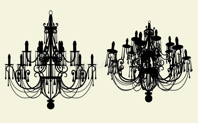 10盏枝形吊灯色泽向量 库存例证
