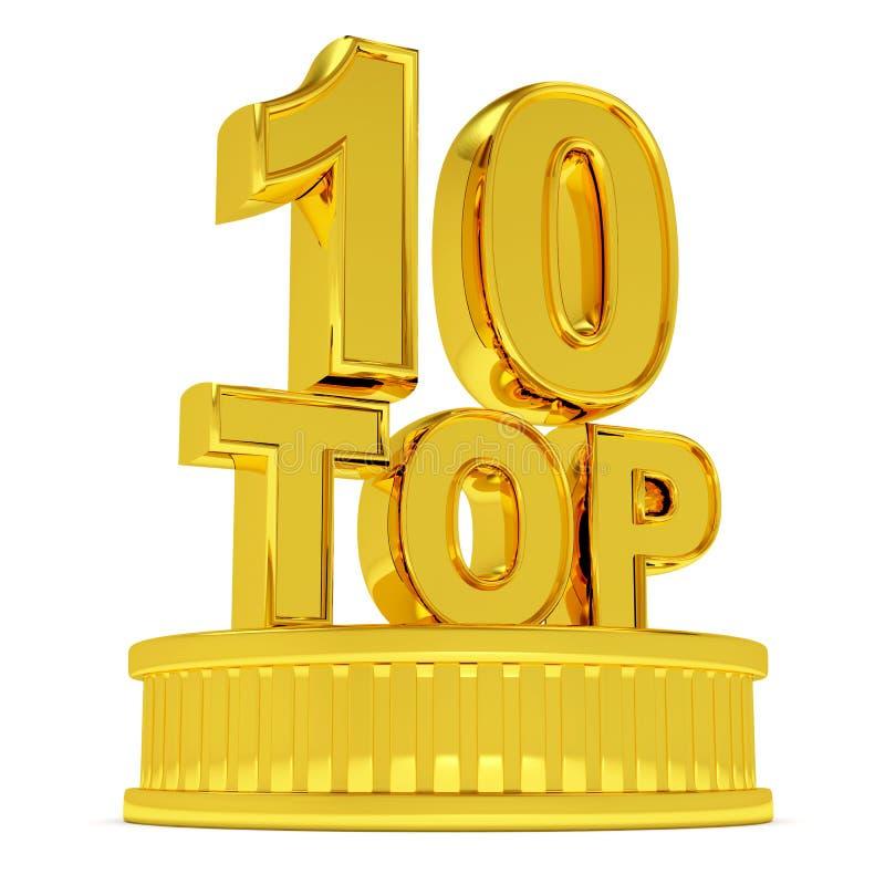 10金黄指挥台顶层 向量例证