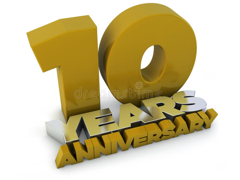 10 έτη επετείου ελεύθερη απεικόνιση δικαιώματος