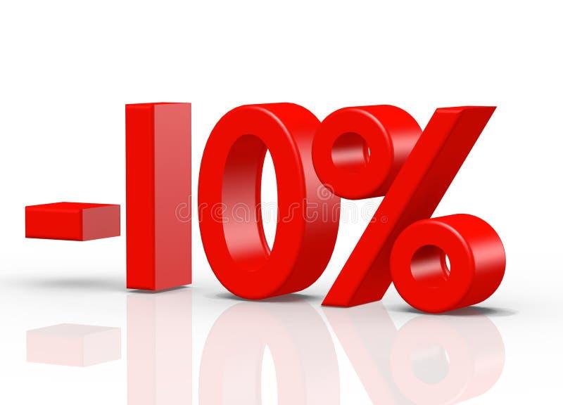 10 τοις εκατό κοκκίνου διανυσματική απεικόνιση