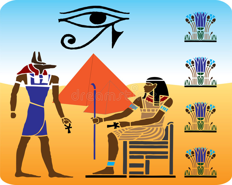10 египетских hieroglyphics иллюстрация вектора