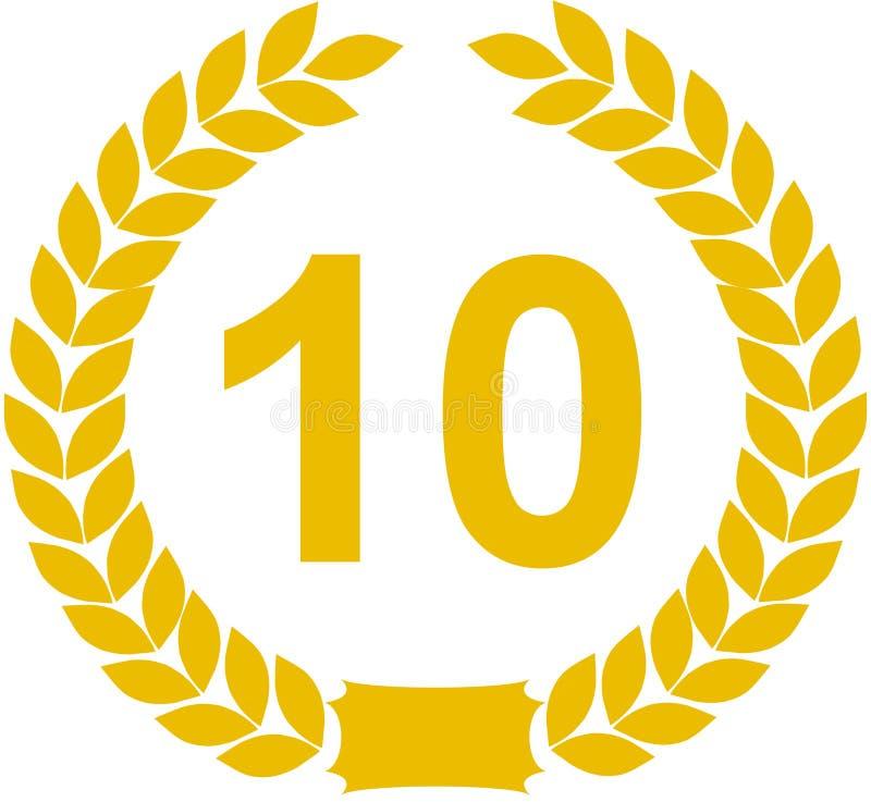 10 лет лаврового венка иллюстрация штока