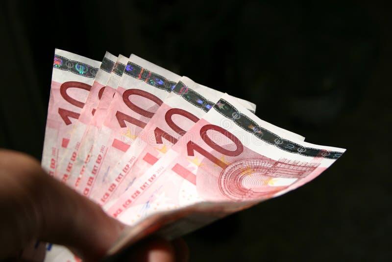 10 счетов закрывают евро вверх стоковое изображение rf