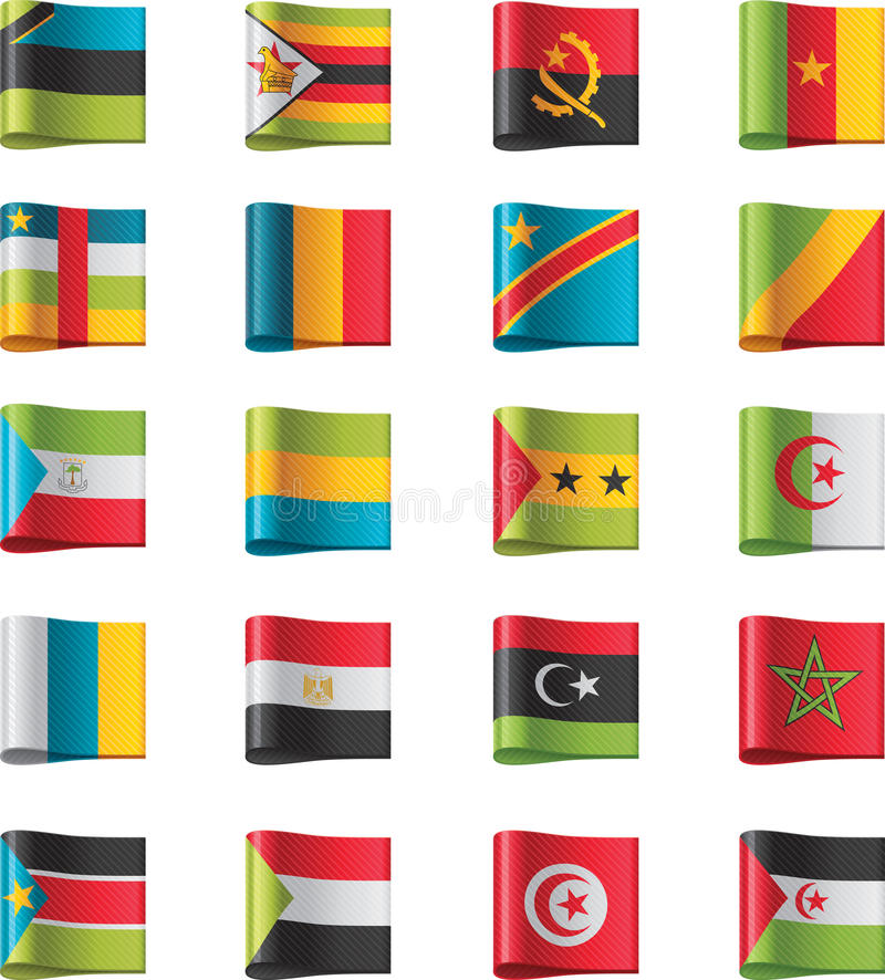 10 флагов Африки разделяют вектор иллюстрация штока