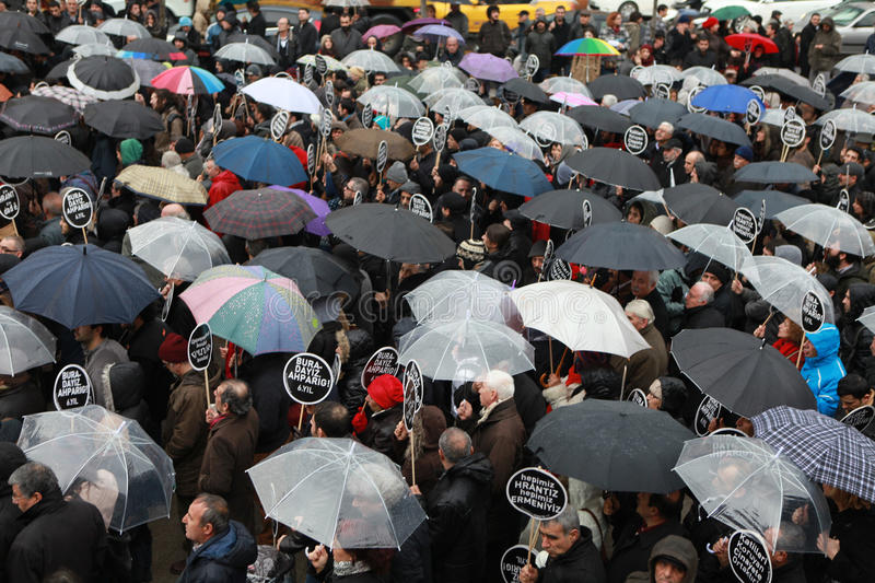 Download 10,000 PROTESTERS WALKED UNDER RAİN FOR HRANT DINK. Editorial Stock Photo - Image: 28728923