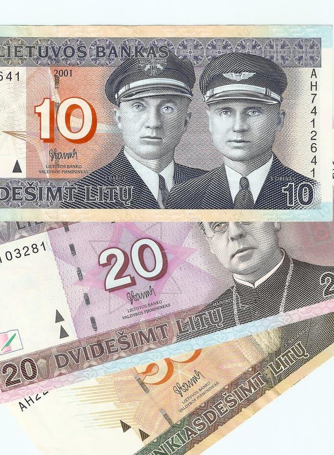 10, 20 e 50 litas lituanos das notas de banco. imagens de stock royalty free