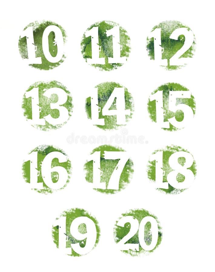 10 20 zielony grunge liczby set zielony ilustracja wektor