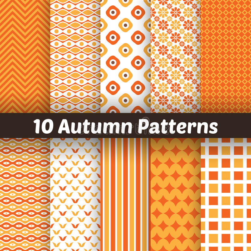 Free 10 Autumn Vector Seamless Patterns. Endless Royalty Free Stock Images - 43402359