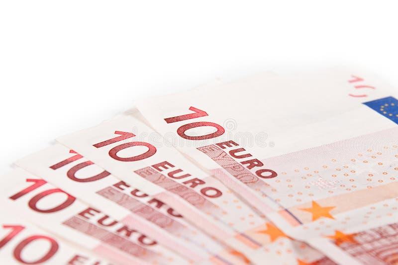 10 billets de banque ferment l'euro vers le haut images stock