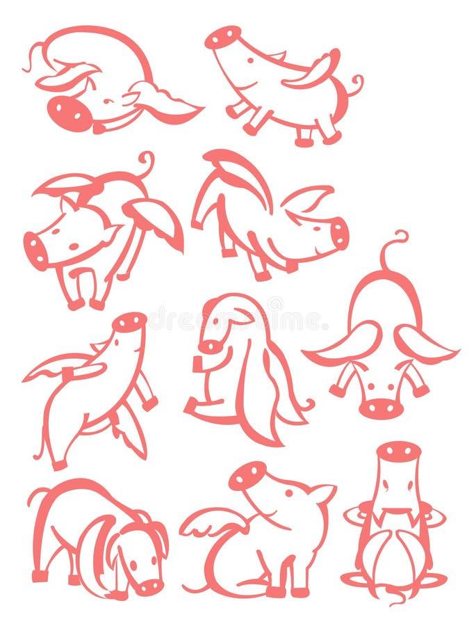 10 cerdos ilustración del vector