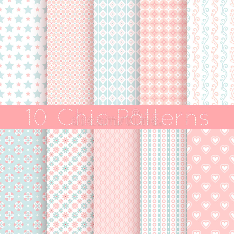 Free 10 Chic Different Vector Seamless Patterns. Pink, Stock Image - 44357791