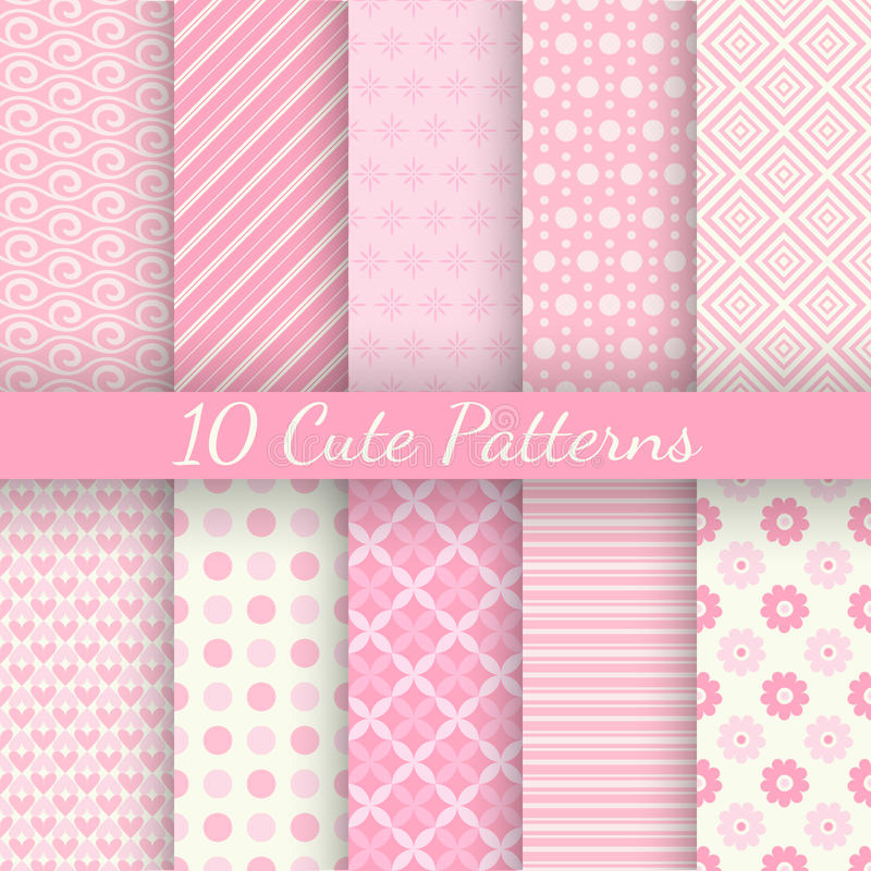 Free 10 Cute Different Vector Seamless Patterns. Pink Royalty Free Stock Photography - 44357767