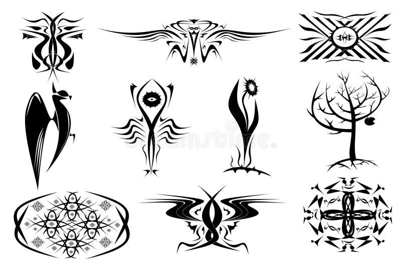 10 decoratieve ornamenten van tatoegeringen. Reeks in zwarte stock illustratie