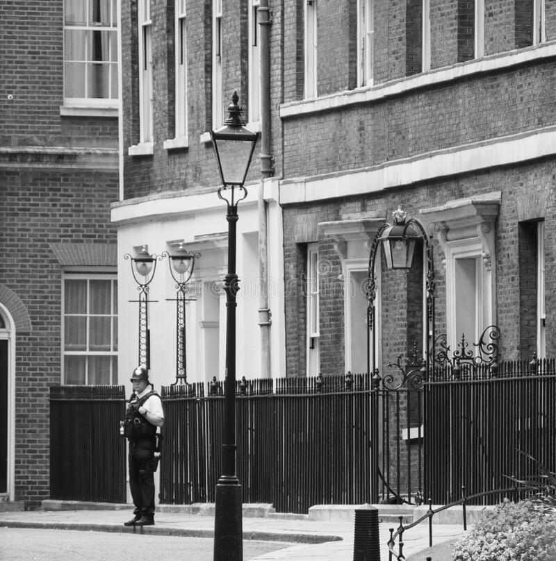 Free 10 Downing Street Residence Of The UK PM In London, Black And Wh Stock Photography - 178969022