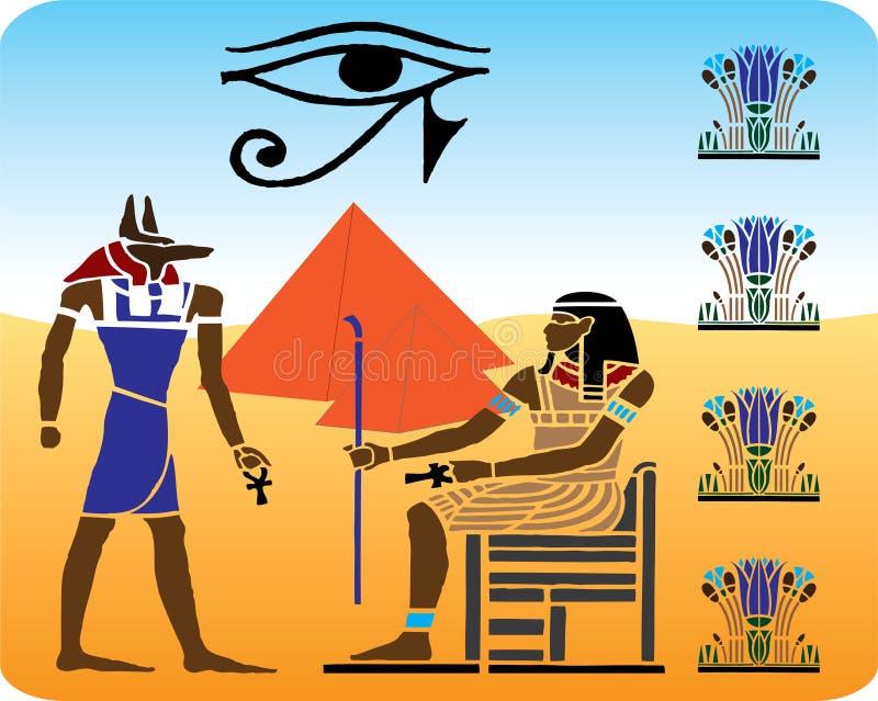 10 egyptiska hieroglyphics vektor illustrationer