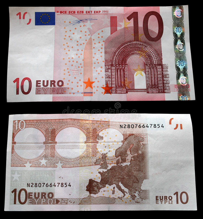 10 Euro. Kopf und die Rückseite stockbild