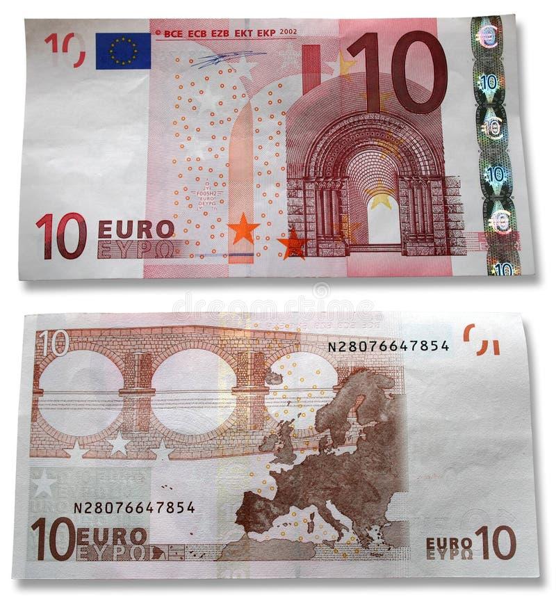 10 euros head reverse arkivfoton