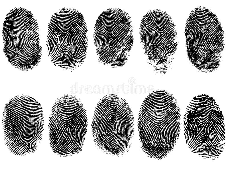 10 FingerPrints. 10 Black and White Vector Fingerprints - Very accurately scanned and traced ( Vector is transparent so it can be overlaid on other images, s etc