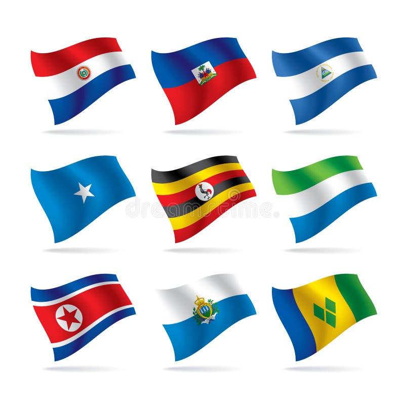 10 flagi zestaw świat royalty ilustracja