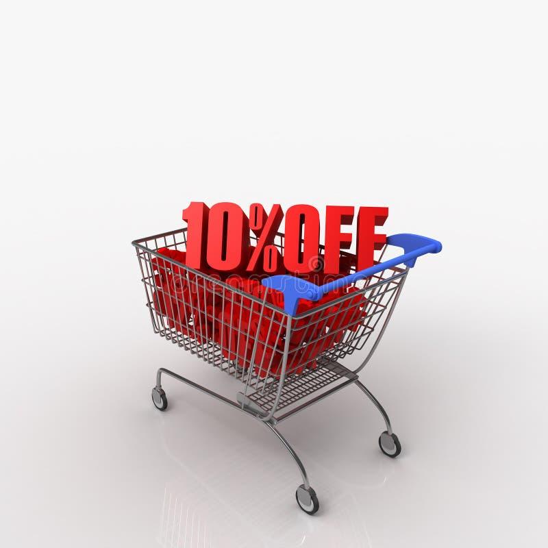 10% FORA do carro de compra ilustração stock