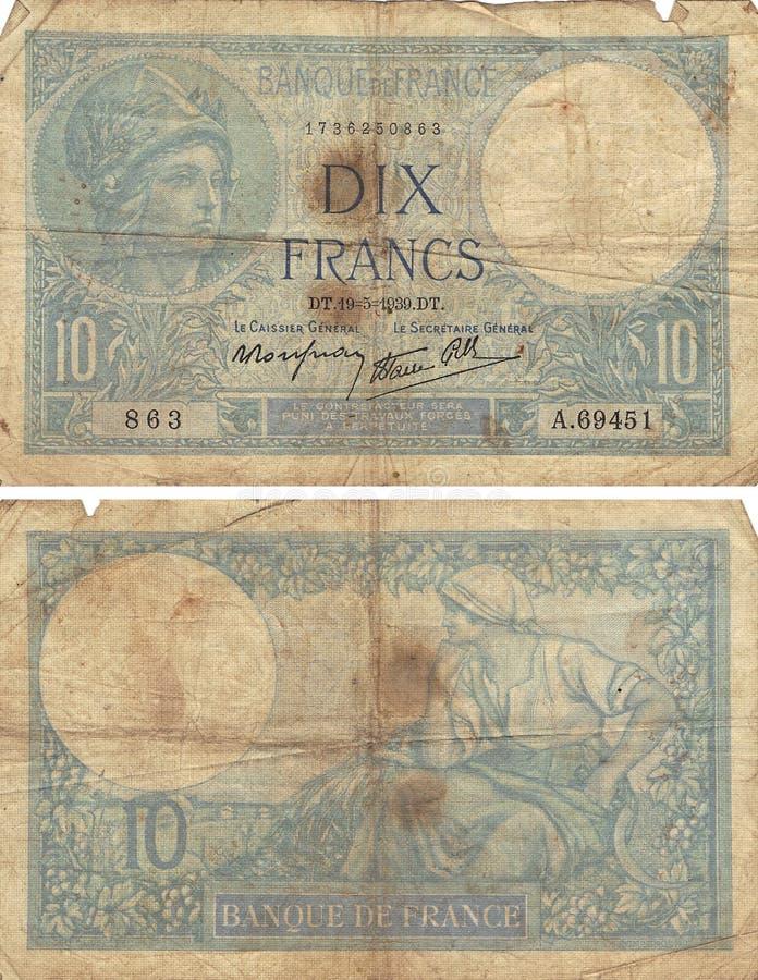 10 franków Note1! 939 fotografia stock