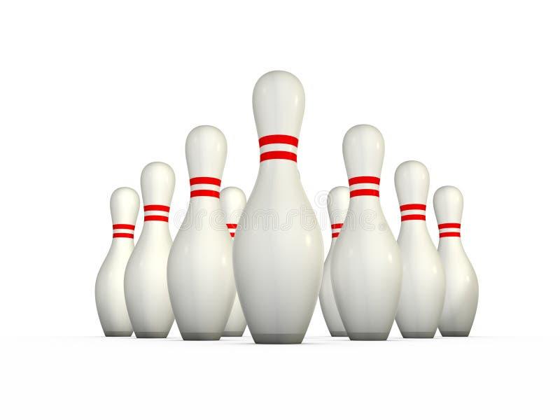 10 getrennte Bowlingspielstifte lizenzfreie abbildung