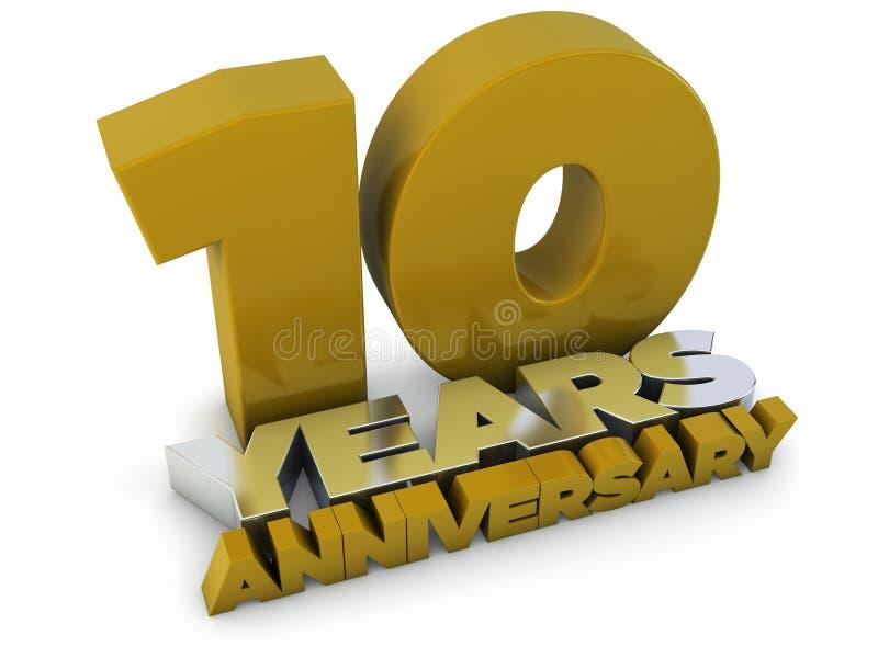 10 Jahre Jahrestag lizenzfreie abbildung